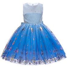 Princess Elsa Dress Flower Girl Dress Girls' Movie Cosplay A-Line Slip Blue Dress Christmas Halloween Children's Day Polyester Blue,100cm