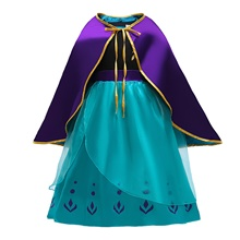 Anna Dress Cosplay Costume Girls' Movie Cosplay Halloween Blue Dress Cloak Christmas Halloween New Year Polyester / Cotton Blue,110cm
