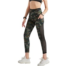 Women's Yoga Pants Side Pockets Patchwork Cropped Leggings Tummy Control Butt Lift Breathable Camo / Camouflage Camouflage Mesh Yoga Fitness Gym Workout Sports Activewear Stretchy / Quick Dry Camouflage,S