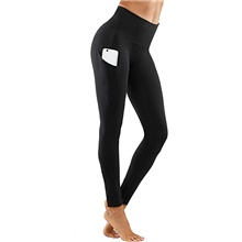 Women's High Waist Yoga Pants Pocket Cropped Leggings Tummy Control Butt Lift Breathable Black Burgundy Pink Yoga Fitness Gym Workout Sports Activewear High Elasticity Black,XS