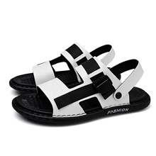 Men's Summer / Fall Beach Daily Sandals Walking Shoes Nappa Leather Breathable Non-slipping Wear Proof White / Black / Gray White,US6-6.5 / EU38 / UK5-5.5 / CN38