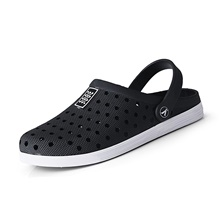 Men's Summer / Fall Beach Daily Home Sandals Water Shoes / Walking Shoes PVC Breathable Non-slipping Wear Proof Black and White / Black Black and White,US8 / EU40 / UK7 / CN41