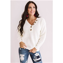 Women's Button Solid Colored Pullover Long Sleeve Loose Sweater Cardigans V Neck Fall Winter White White,M