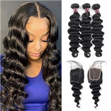 4 Bundles Hair Weaves Brazilian Hair Deep Wave Human Hair Extensions Human Hair Hair Weft with Closure 8-28 inch Natural Women Natural Youth Free Part,4 Pieces,Natural Black #1B,Loose Wave,8 8 8 & 8