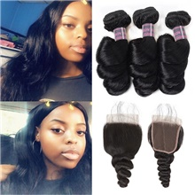 4 Bundles Hair Weaves Brazilian Hair Loose Wave Human Hair Extensions Human Hair Hair Weft with Closure 8-28 inch Natural Women Natural Youth Free Part,4 Pieces,Natural Black #1B,Loose Wave,8 8 8 & 8