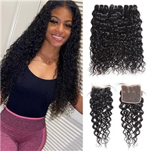 4 Bundles Hair Weaves Brazilian Hair Water Wave Human Hair Extensions Human Hair Hair Weft with Closure 8-28 inch Natural Women Natural Youth Free Part,4 Pieces,Natural Black #1B,Water Wave,8 8 8 & 8