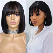 Remy Human Hair Lace Front Wig Bob style Brazilian Hair Straight Natural Wig 150% Density Women Medium Size For Black Women Youth Women's Short Human Hair Lace Wig Lace Front,Natural Color,150%,8 inch,Light Brown Lace,Average