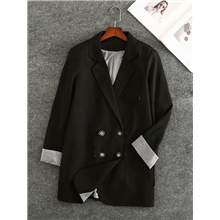 Women's Blazer Notch lapel collar Solid Colored Black M / L / XL Black,M