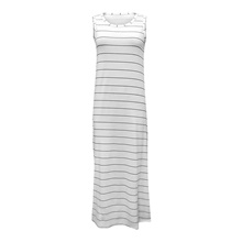 Women's Sheath Dress Maxi long Dress - Sleeveless Striped Split Patchwork Summer Casual Daily 2020 White Black S M L XL White,S