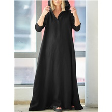 Women's Swing Dress Maxi long Dress - Long Sleeve Solid Color Patchwork Fall Vintage Daily 2020 Red Black S M L XL XXL XXXL XXXXXL Black,S