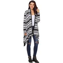 Women's Euramerican Knitted Geometric Cardigan Acrylic Fibers Long Sleeve Sweater Cardigans V Neck Fall Winter Black Khaki Black,One-Size