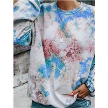 Women's Pullover Sweatshirt Tie Dye Basic Hoodies Sweatshirts  Blue Red Yellow Blue,S