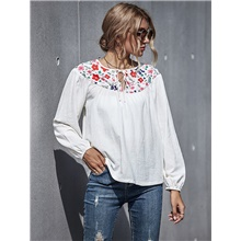 Women's T-shirt Floral Embroidered Print Round Neck Tops Basic Fall White White,S