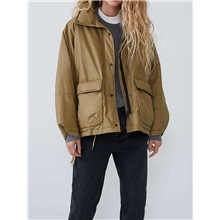 Women's Jacket Daily Basic Short Solid Colored Khaki XS / S / M Khaki,XS