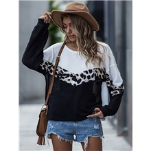 Women's Casual Knitted Leopard Pullover Long Sleeve Sweater Cardigans Crew Neck Fall Winter Black Purple Yellow Black,S